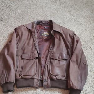 Brown Leather Bomber Jacket Coat